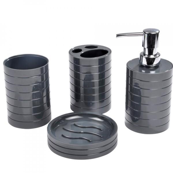 kit d accessoires de salle de bain strie gris anthracite