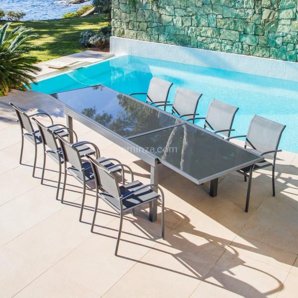 table de jardin extensible 12 places en verre murano 320 x 100 cm anthracite