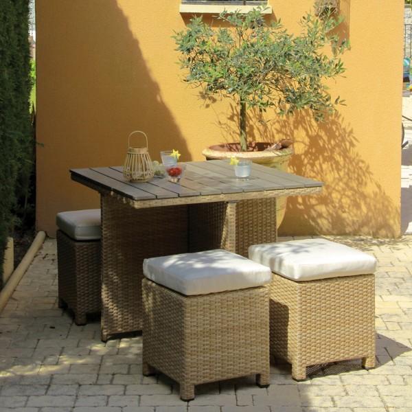 salon de jardin encastrable sorini camel naturel 4 places