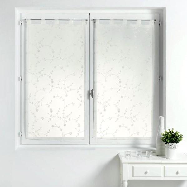 paire de voilages 60 x 90 cm petite fleur blanc