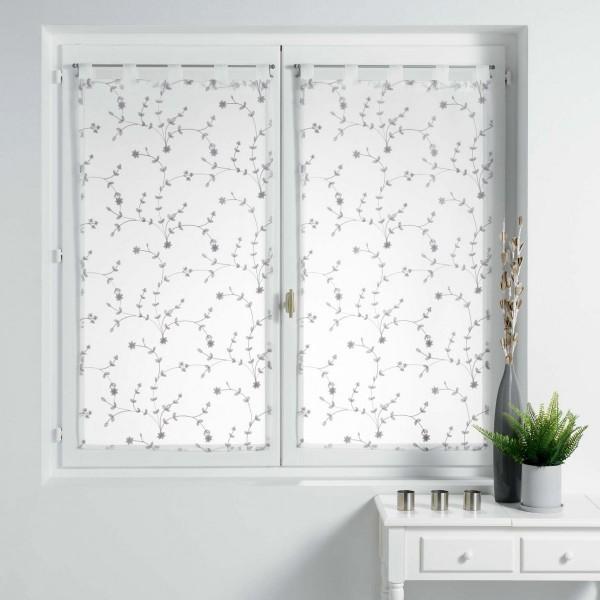 paire de voilages 60 x 160 cm petite fleur blanc et gris