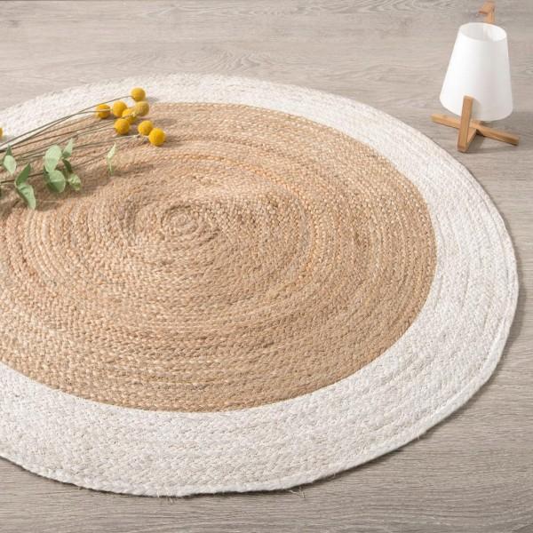 tapis jute d120 cm bord blanc