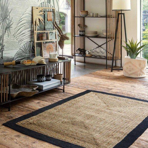 tapis jute 170 cm meryl noir