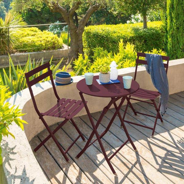 table de jardin ronde pliante metal greensboro d60 cm bordeaux