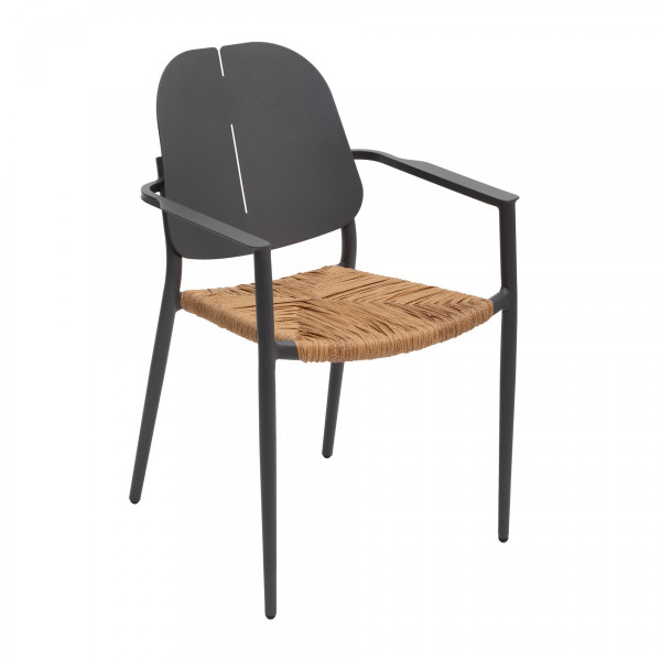 fauteuil de jardin alu empilable rubby gris graphite