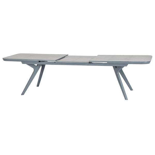 table de jardin extensible aluminium pulpy 299 x 100 cm gris