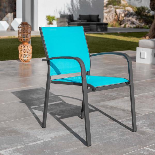 fauteuil de jardin alu empilable murano gris anthracite bleu