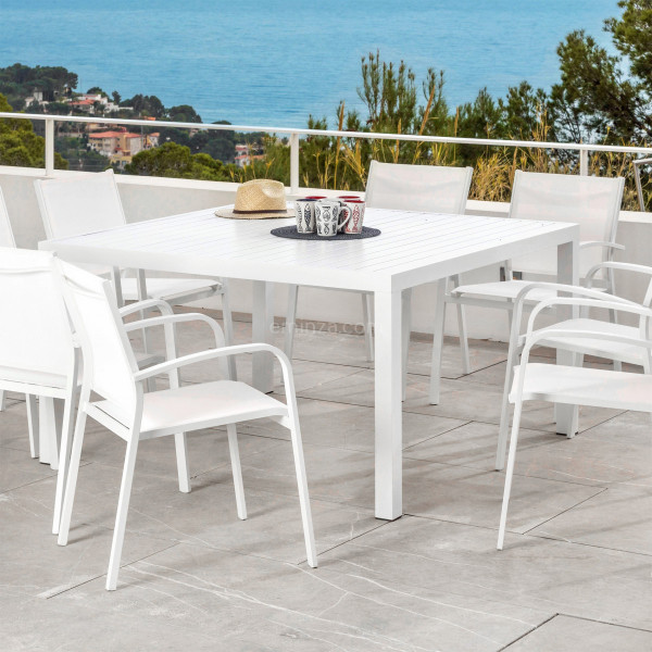 table de jardin 8 places aluminium murano 136 x 136 cm blanche