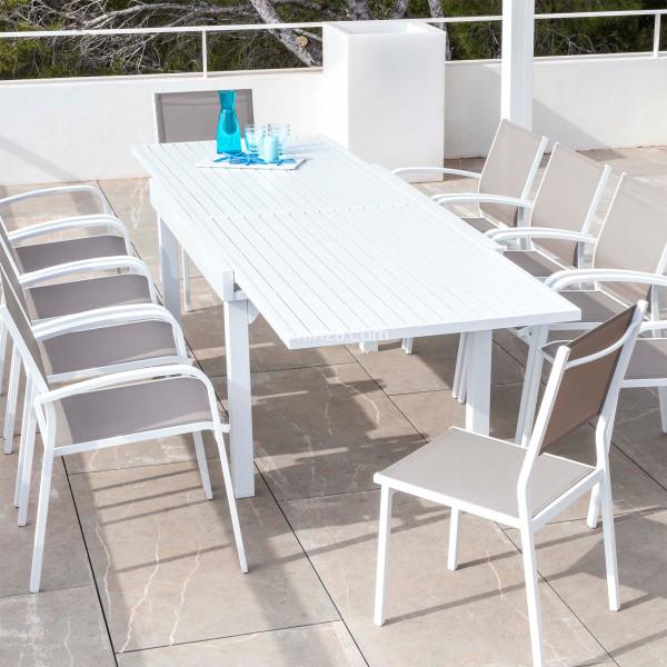 table de jardin extensible 10 places aluminium murano 270 x 90 cm blanche