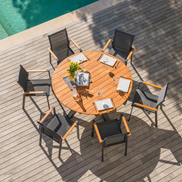 table de jardin ronde alu bois d150 cm ko samui gris anthracite