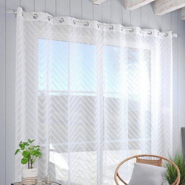 voilage 290 x 280 cm design blanc