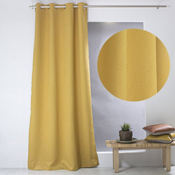 rideau occultant 140 x 240 cm palme jaune moutarde