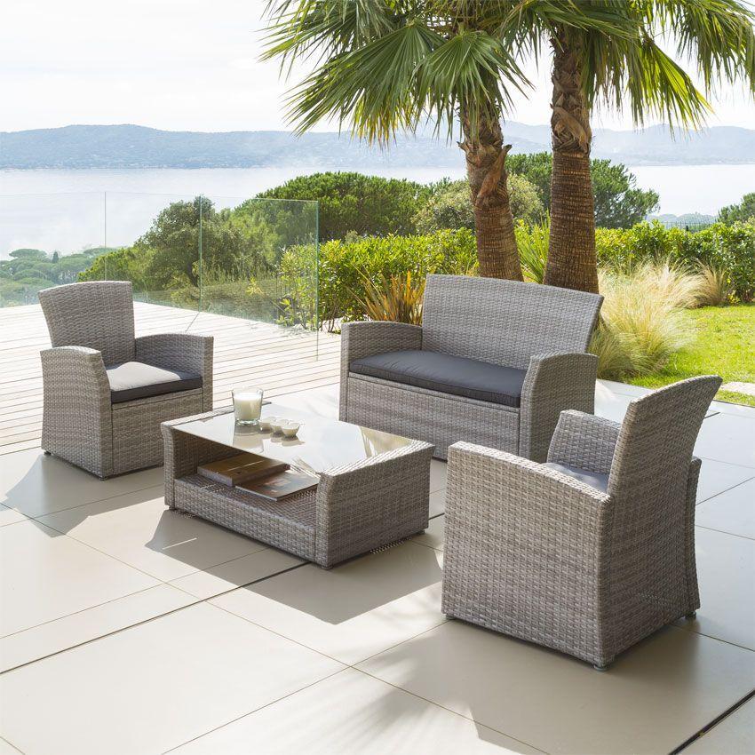 Salon de jardin Bora Bora Gris clair  4 places  Salon de jardin  Eminza