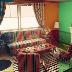 Retro Living Room Curtains For With Yellow Walls Customizable By Nguyen Cong Thai In Environments Ue4 Marketplace