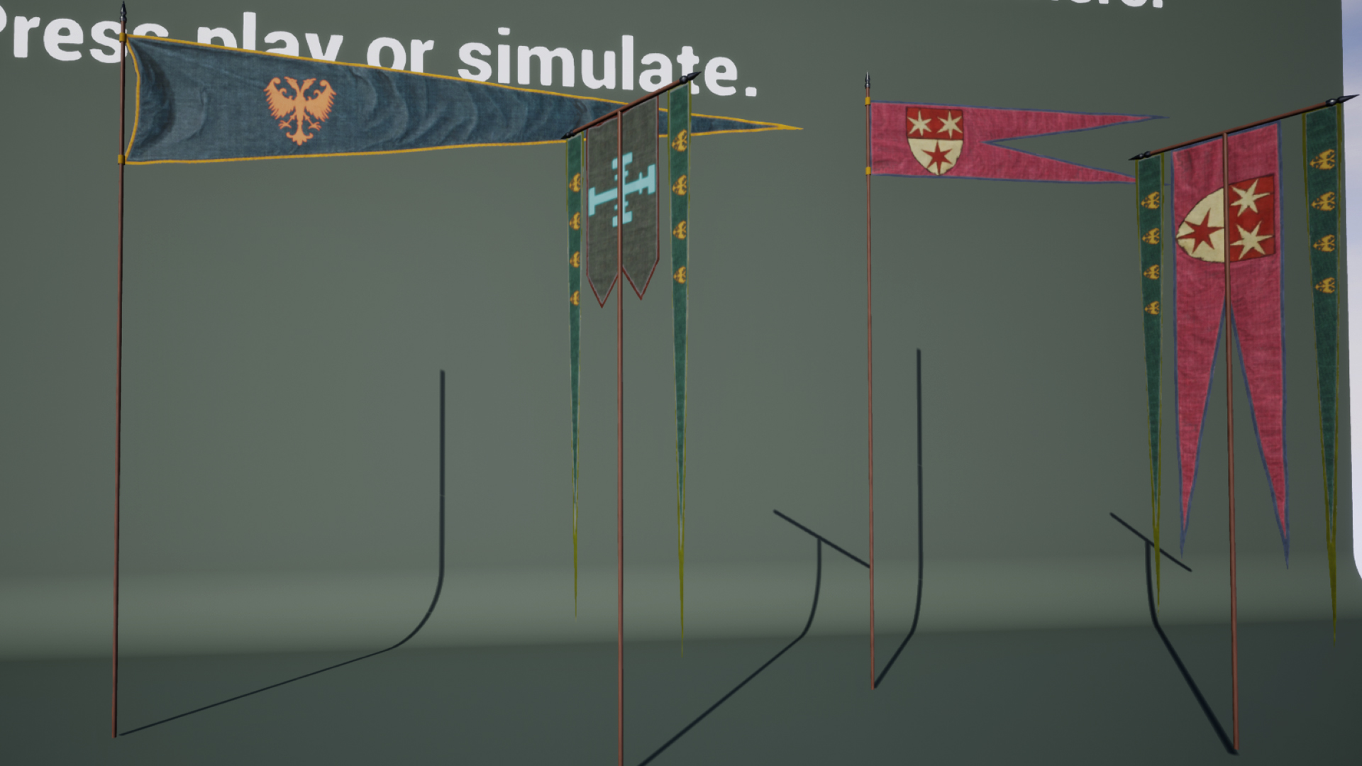 dynamic medieval flags and