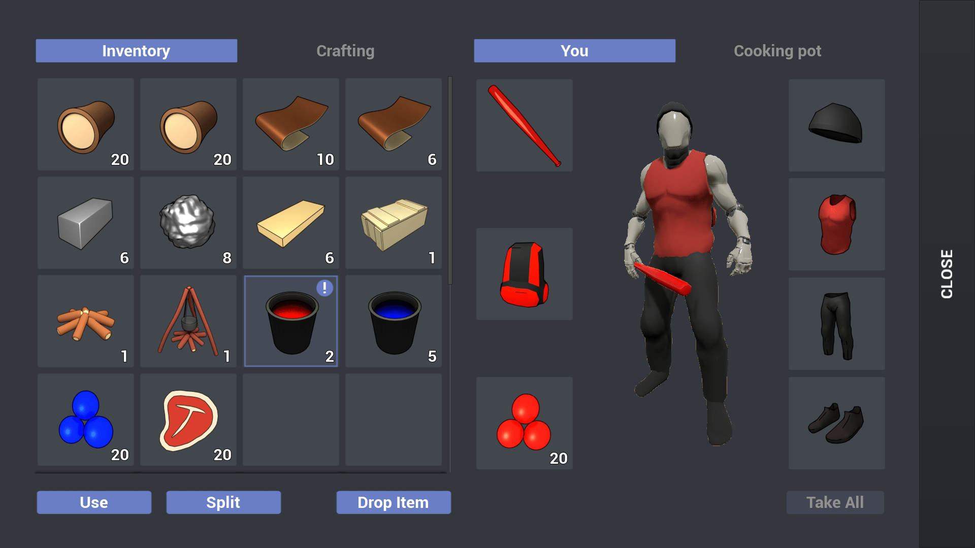 touch build and inventory