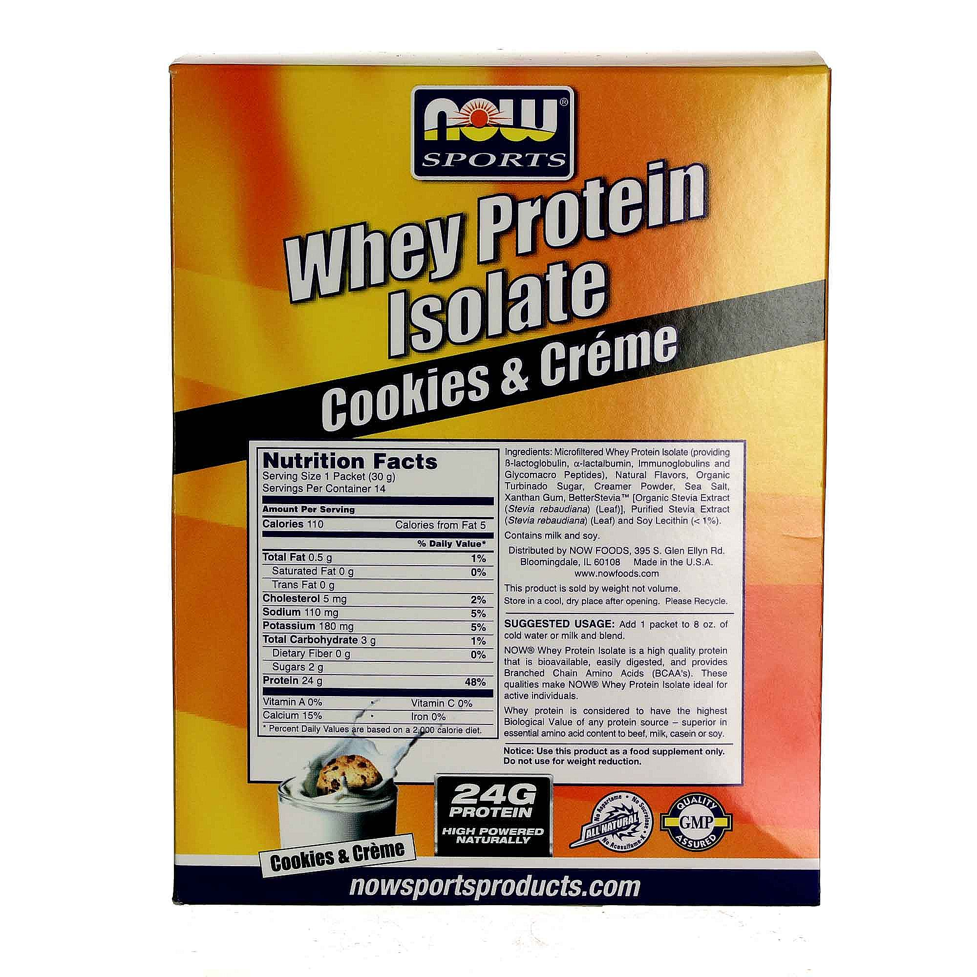 Now Foods Whey Protein Isolate Packets Cookies & Creme ...