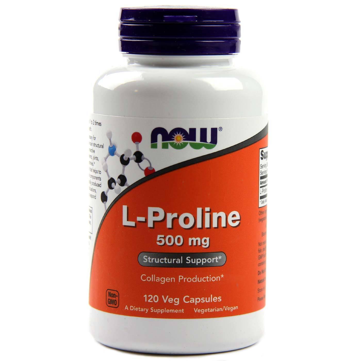 Buy Now Foods L-Proline - 500 mg - 120 Vegetarian Capsules ...