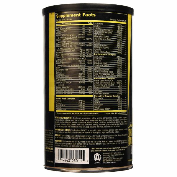 Animal Pack Vitamins Nutrition Facts Dandk