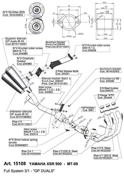 YAMAHA MT-09, MT-09 ABS LEOVINCE GP DUALS BLACK EXHAUST SYSTEM