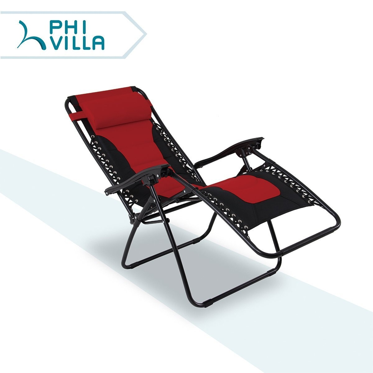 Lounge Chair Patio Phi Villa Padded Zero Gravity Lounge Chair Patio Foldable Adjustable Reclining For Outdoor Yard Porch Red