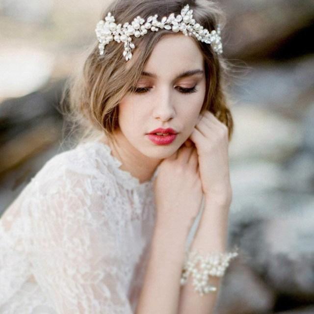 aukmla wedding rhinetones headbands and bracelet set silver beaded hair vines head chain wedding hair accessories for the bride and bridesmaid