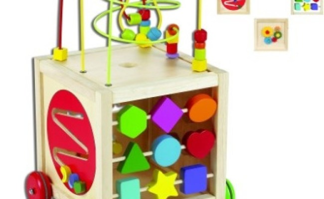 Large Wooden Multi Activity Cube On Wheels By Classic