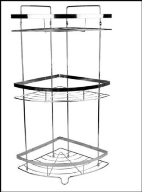 Free standing 3 tier chrome corner shelf wall mounted