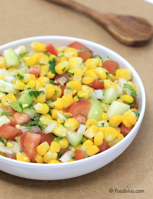 Corn Salad Recipe - with Fresh Sweet Corn, Tomato and Cucumber