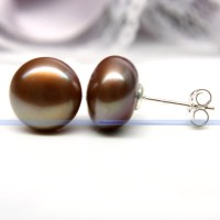 Genuine Large 10mm Freshwater Pearl Stud Earrings