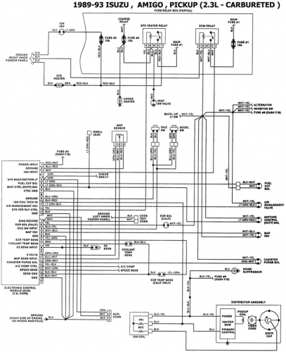 Imagen Esquema electrico Motor Isuzu 4ZD1 carburado (2.3