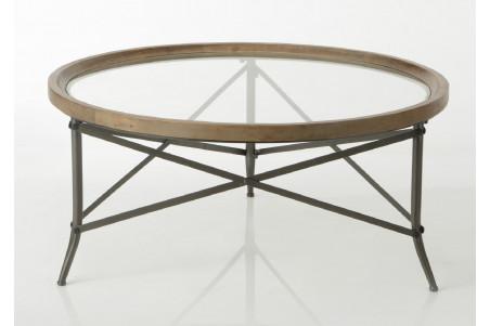 table basse ronde en bois et plateau verre cadoue