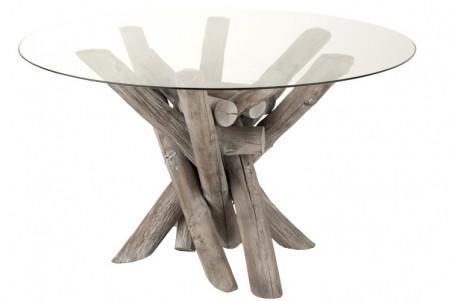 table ronde en verre et bois flotte noe