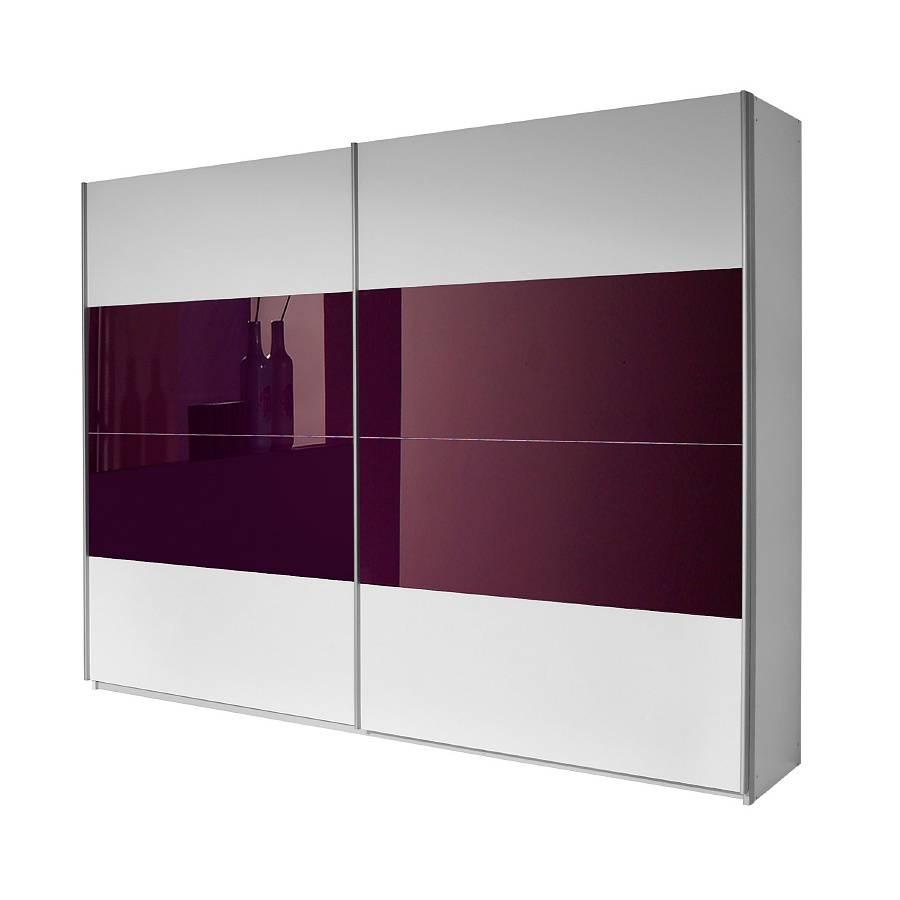 armoire a portes coulissantes quadra blanc alpin couleur mure 226 x 210 cm