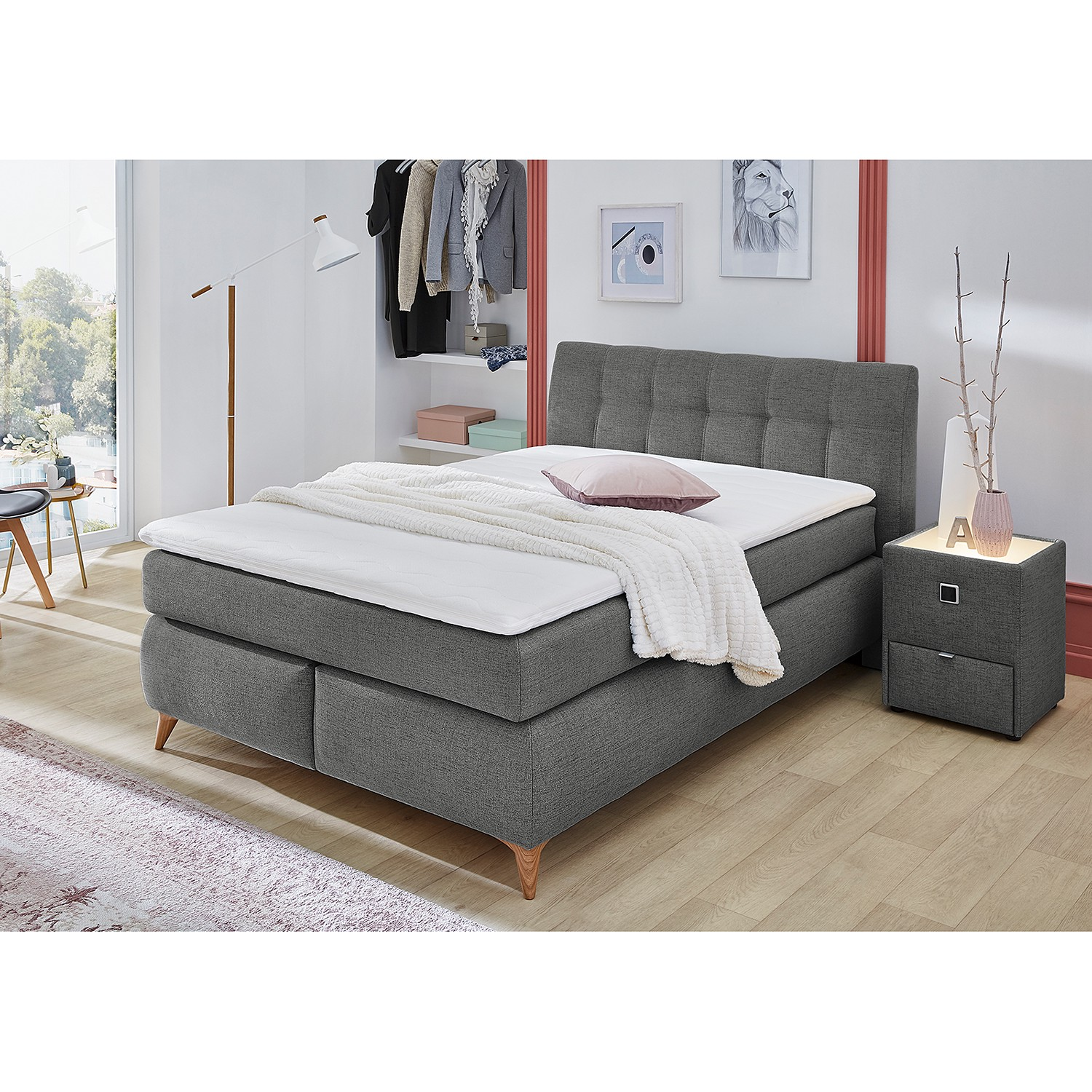 Kaltschaum Topper 140x200 Home24 Norrwood Boxspringbett Nan 140x200 Cm Webstoff Anthrazit Mit Matratze/kaltschaumtopper | Moebel-suchmaschine | Ladendirekt.de