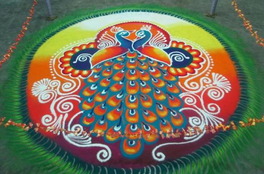 Competition Peacock Rangoli Designs