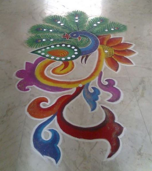 Peacock Rangoli Designs for New Year