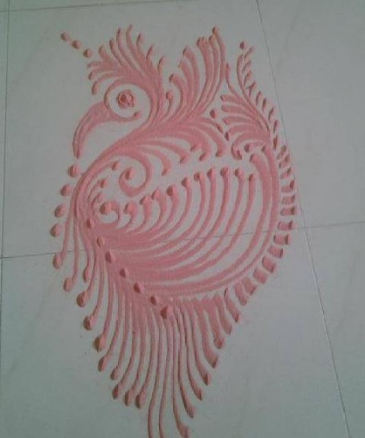 Peacock Rangoli Designs for Kids
