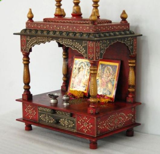 Handpainted Wooden Pooja Room Designs