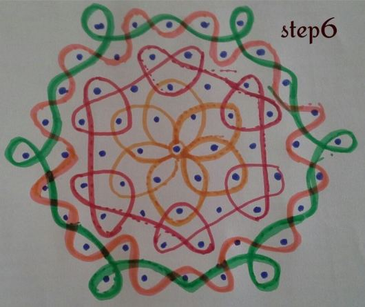 Rangoli Designs with Dots Step by Step