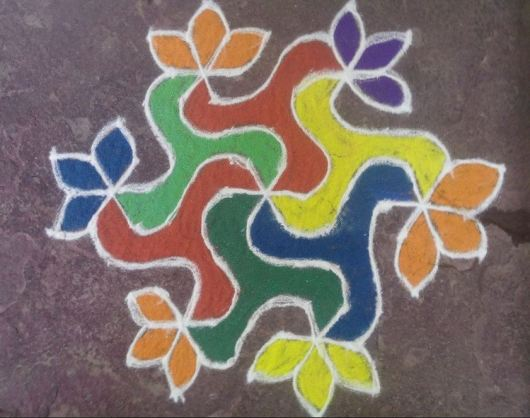 Simple Rangoli Design with Dots