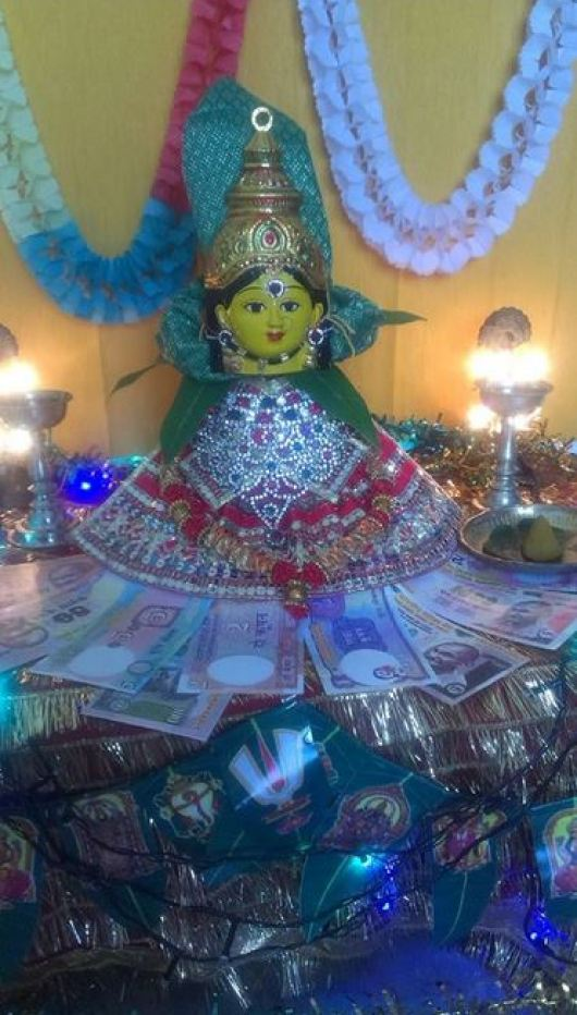 Pooja Room Decoration Ideas for Varalakshmi Goddess