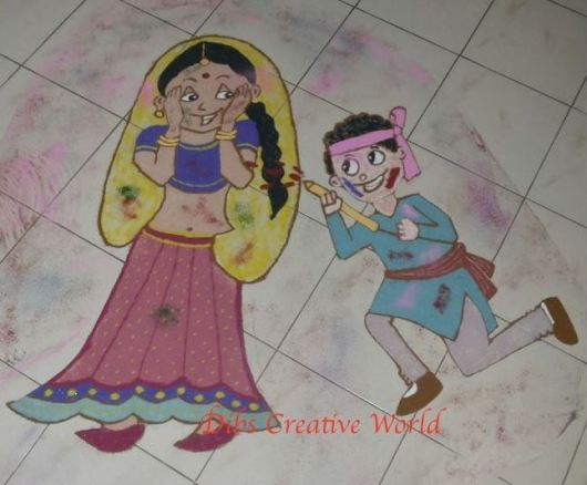 Rangoli Designs with Theme for Competition - Holi