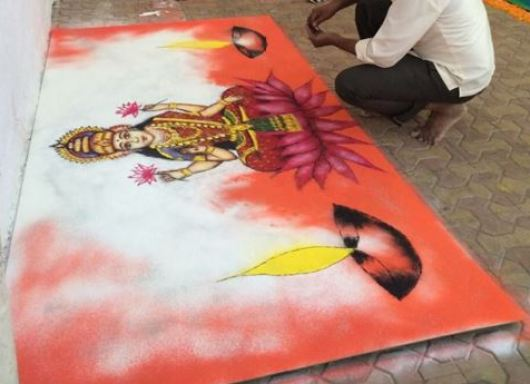 Diwali Rangoli Design of Goddess Lakshmi