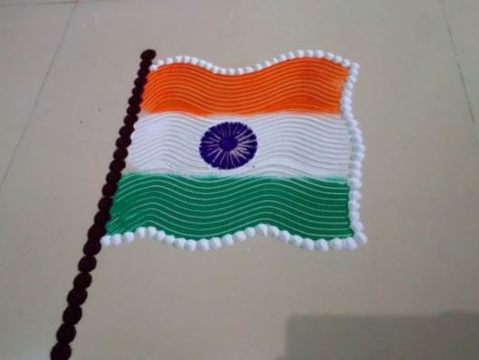 Indian Flag Rangoli Designs