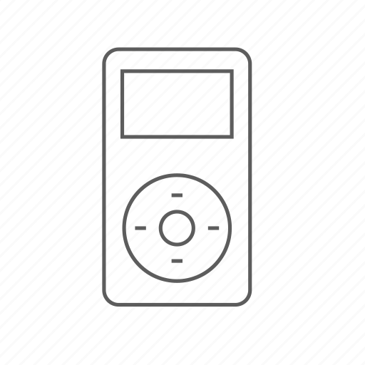 Apple, ipod, mini, music, outlined, player icon
