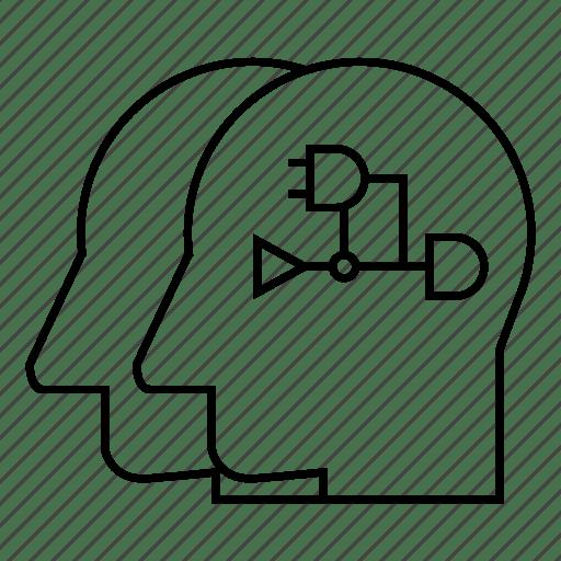 Cyber, diagram, diode, head, logic, robot, transistor icon