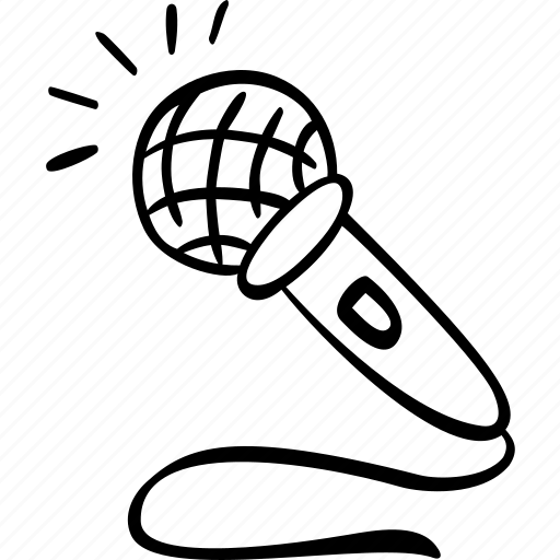 Audio, mic, microphone, record, recording, scribble icon