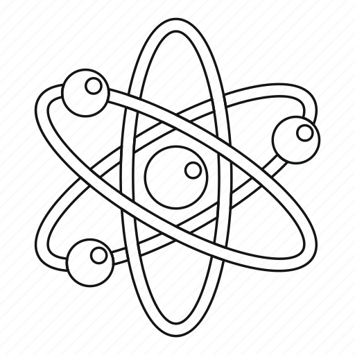 Atom, experiment, line, outline, reaction, test, thin icon