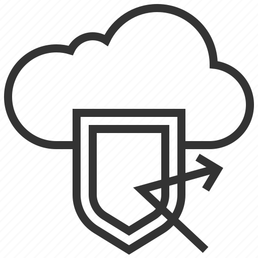 Cloud, network, protection, safe, secure, shield icon